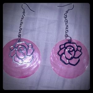 Jewelry - Pink Earrings with Silver Roses